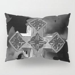 Moonlit GraveYard Cross With Crows Pillow Sham