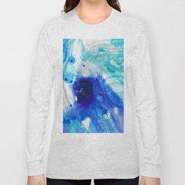 Modern Abstract Art - Blue Marble by Sharon Cummings Long Sleeve T-shirt