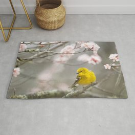 SELECTIVE FOCUS PHOTOGRAPHY OF YELLOW BIRD ON TREE BRANCH Rug