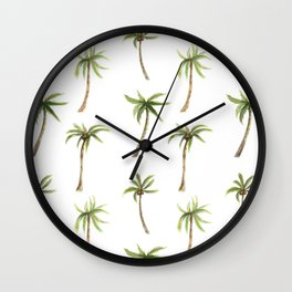Watercolor palm trees pattern Wall Clock