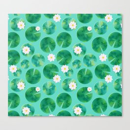 Lily Pads & White Water Lily Flowers Canvas Print