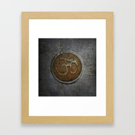 The sound of the Universe. Gold Ohm Sign On Stone Framed Art Print