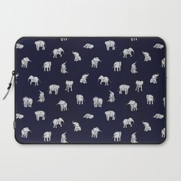Indian Baby Elephants in Navy Laptop Sleeve