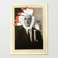 headdress Canvas Prints featuring headdress by Karen Constance Collage and Paintings
