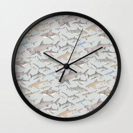 Watercolour shark pattern on pale blue Wall Clock