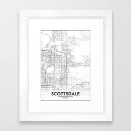 Minimal City Maps - Map Of Scottsdale, Arizona, United States Framed Art Print
