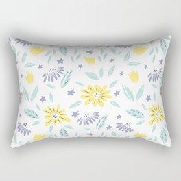 teal, grey flora and yellow flowers Rectangular Pillow