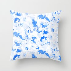 AbstractFlora Lapis Blue Throw Pillow