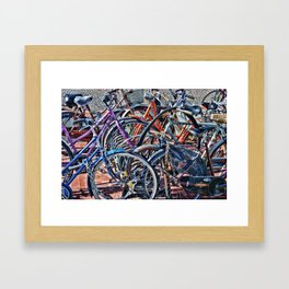 Lots of colorfull bycicles Framed Art Print