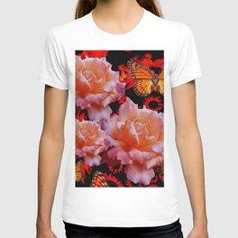 Three Antique Pinkish Roses Monarch Butterflies Art T-shirt