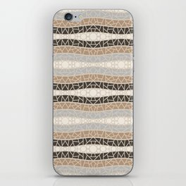 Mosaic Wavy Stripes in Cream, Brown and Gray iPhone Skin