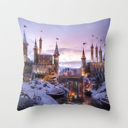 Magnificent Fantasy Winter Castle Dreamland Ultra HD Throw Pillow
