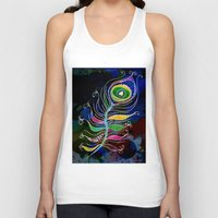 peacock feather Tank Tops featuring Peacock Feather by SwanniePhotoArt