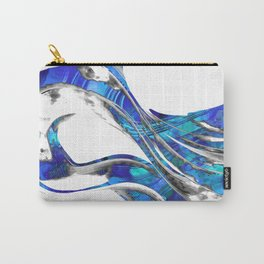 Blue And White Abstract Art - WaveBlue And White Modern Art - Wave 3 - Sharon  3 - Sharon Cummings Carry-All Pouch