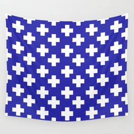 Plus Signs (White & Navy Blue Pattern) Wall Tapestry