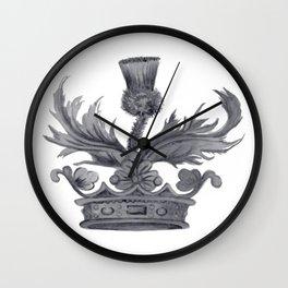 Watercolor Outlander Crown & Thistle Wall Clock