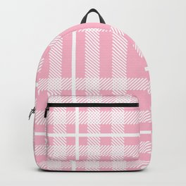 Pink and White Plaid Backpack