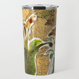 Two Buds on Wheat, a Paper Collage By Cecilia Lee, Whipple Hill Art Collective Travel Mug