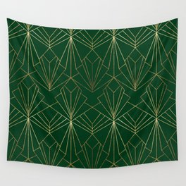Art Deco in Gold & Green Wall Tapestry