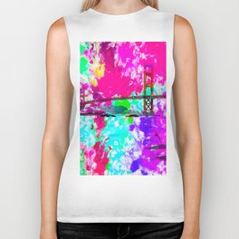 Golden Gate bridge, San Francisco, USA with pink blue green purple painting abstract background Biker Tank