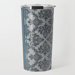 Teal, Aqua & Grey Vintage Bohemian Wallpaper Stripes Travel Mug
