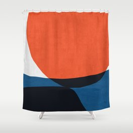 Blue and red modern art V Shower Curtain