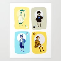 ghibli Art Prints featuring Ghibli Gijinkas by TEAM JUSTICE ink.