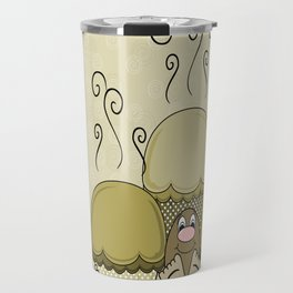 Cute Monster With Yellow Frosted Cupcakes Travel Mug