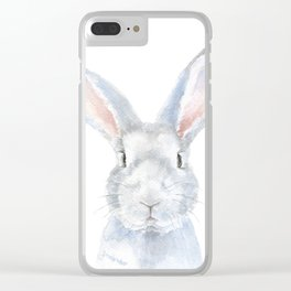 Gray Bunny Rabbit Watercolor Painting Clear iPhone Case