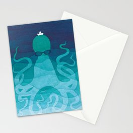 Octopus, sea creature, animals, ocean watercolor teal blue Stationery Cards