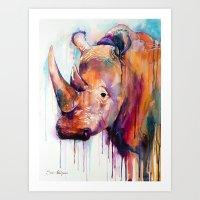 rhino Art Prints featuring Rhino by Slaveika Aladjova