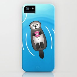 Sea Otter with Donut - Cute Otter Holding Doughnut iPhone Case