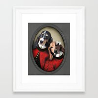 the hound Framed Art Prints featuring Basset Hound - Hound Love by The Lonely Pixel