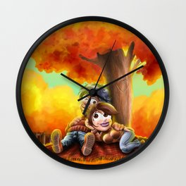 Tenderness in autumn Wall Clock