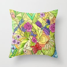 Stained Glass Garden Throw Pillow