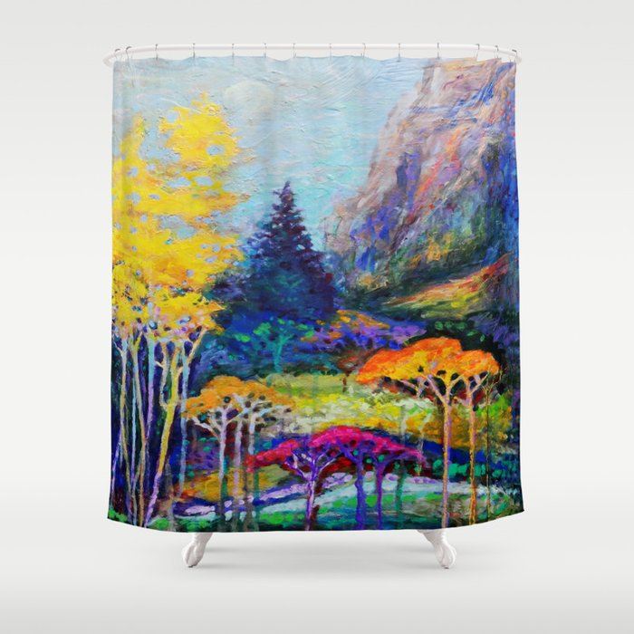 Mountain Aspen Trees Landscape Shower Curtain