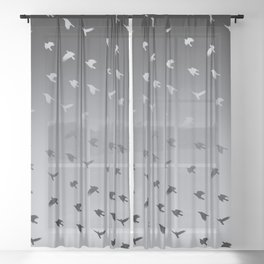 Crows Flying Ombre Pewter Blue Grey Sheer Curtain