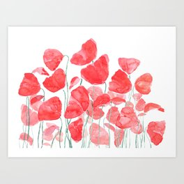 abstract red poppy field watercolor Art Print