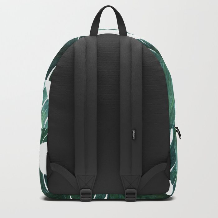 Blue-green banana leaves. Backpack