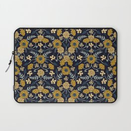 Navy Blue, Turquoise, Cream & Mustard Yellow Dark Floral Pattern Laptop Sleeve