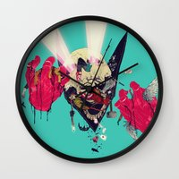 hero Wall Clocks featuring Hero Eater by boneface