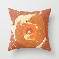 foxes Throw Pillows featuring Foxes by Beesants