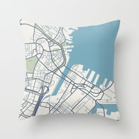 boston map Throw Pillows featuring Boston Map by Sophie Calhoun