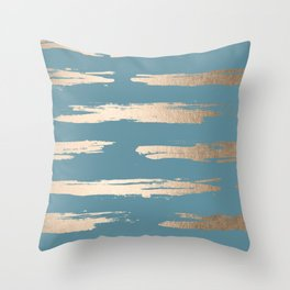 Abstract Painted Stripes Gold Tropical Ocean Blue Throw Pillow