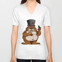 russian V-neck T-shirts featuring Russian Bear by Michelena