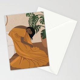 Black woman in evening gown Stationery Cards