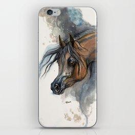 Arabian horse portrait watercolor art iPhone Skin
