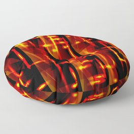 Luxurious red stripes and metallic orange triangles of fire create abstraction and glow. Floor Pillow