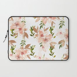 Hand painted coral white forest green watercolor floral Laptop Sleeve