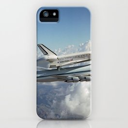 979. The Space Shuttle Discovery hitched a ride on a special 747 carrier aircraft for the flight from California to the Kennedy Space Center iPhone Case